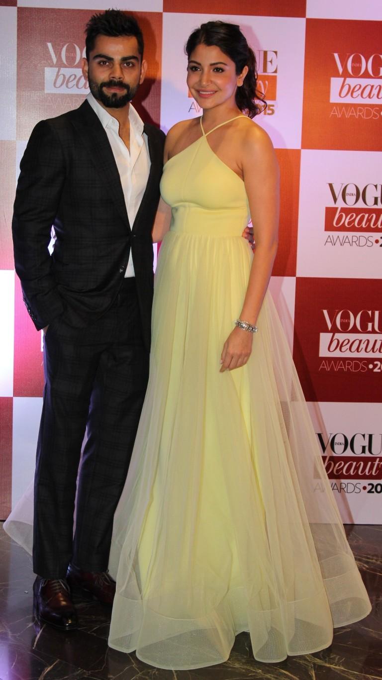 Virat Kohli and Anushka Sharma at the Vogue Beauty Awards 2015 at Palladium Hotel